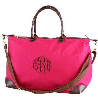 Personalized Pink Large Nylon Tote Duffel