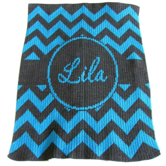 Personalized Baby Blankte with Chevron Stripes