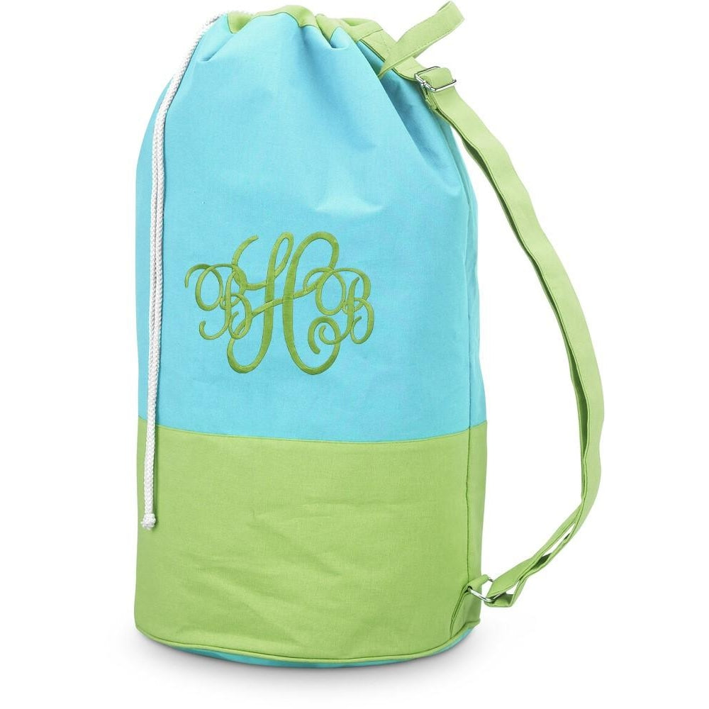 *SOLD OUT* Turquoise & Green Color Block Laundry / Duffle Bag - inthisveryroom