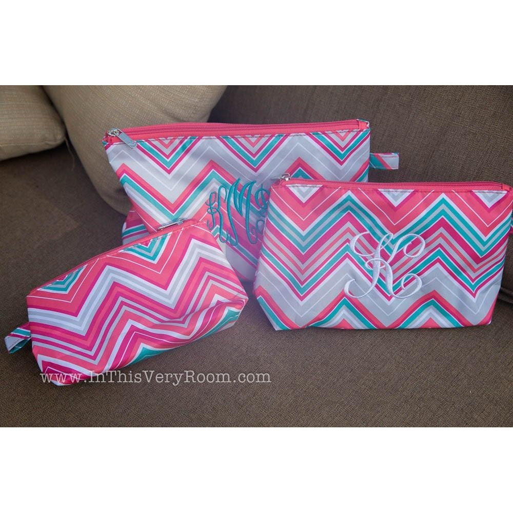 *LOW STOCK* Chevron Cosmetic Bags Set/3