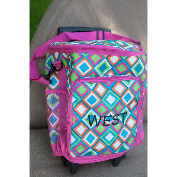 Monogrammed Rolling Cooler - Geometric Pattern