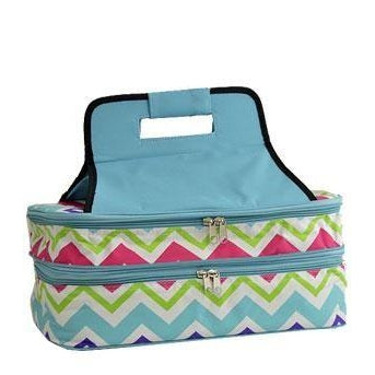 Personalized Aqua & Colored Chevron Casserole Carrier