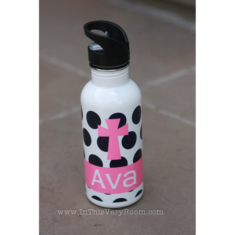 Cross & Polka Dots Water Bottle