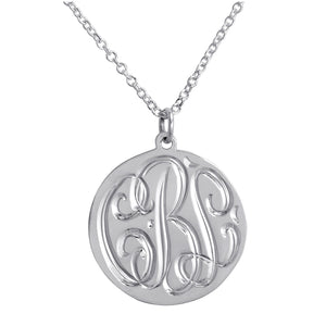 Hand Engraved Pendant Necklace - Silver