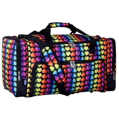 Rainbow Hearts Monogrammed Weekender Duffel Bag