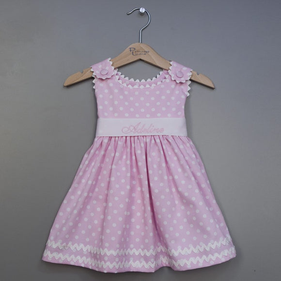 Monogrammed Pink Polka Dot Baby Dress - Toddler Dress