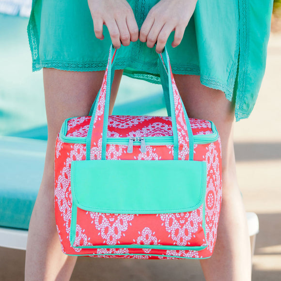 Personalized Coral Insulated Cooler Tote Bag