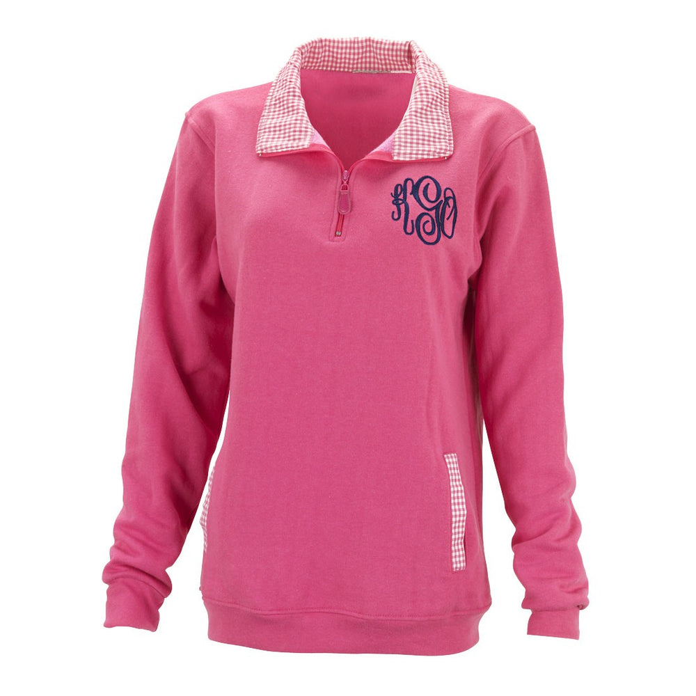 Pink Pullover Sweatshirt with Monogram