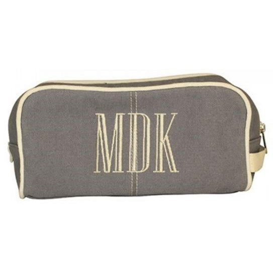 Personalized Grey Dopp Bag - Toiletry Bag