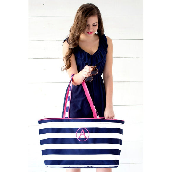 Navy Striped Large Beach Bag Personalized