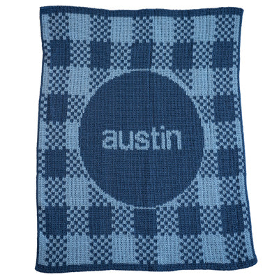 Personalized Knitted Baby Blanket in Gingham for Boys & Girls
