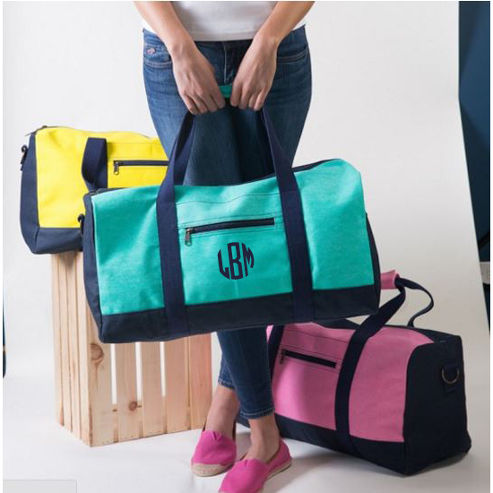 Personalized Color Block Duffels