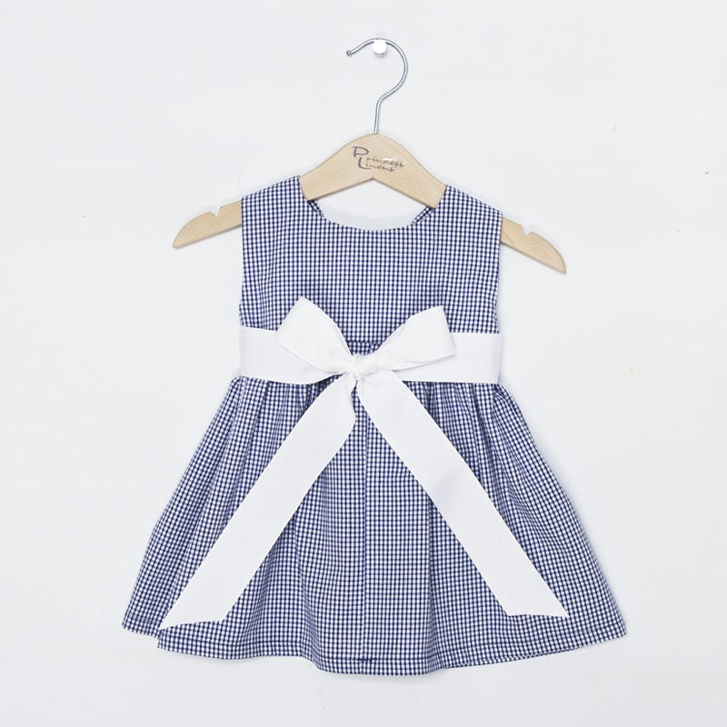 Navy Gingham Dress with Sash