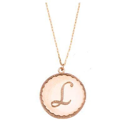 Rose Gold John Wind Initial Necklace