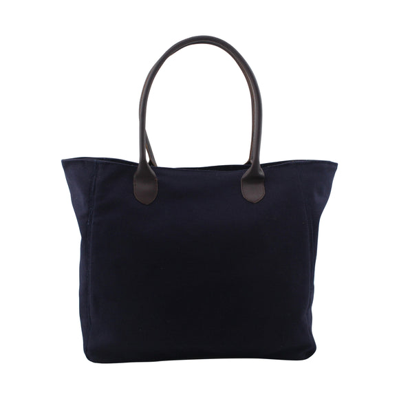 Personalized Navy Canvas Tote with Leather Handles