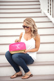 Hot Pink Canvas Tote with Gold Trim