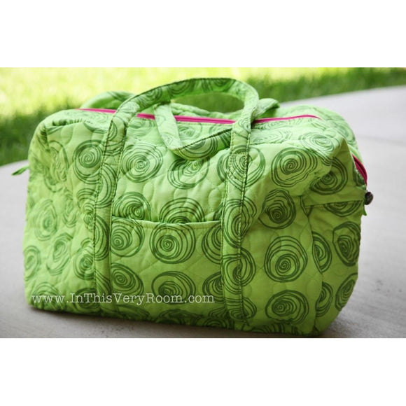 *SOLD OUT* Green Swirls Quilted Box Duffel - inthisveryroom