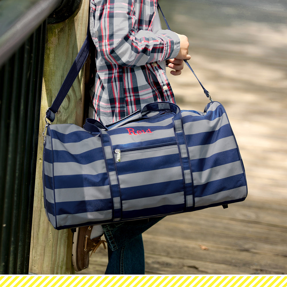 Greyson Duffel Bag - Grey & Navy Striped