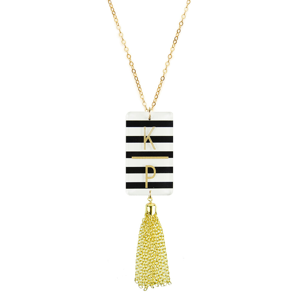 Striped Rectangle Charm & Tassel  Necklace by Moon and Lola
