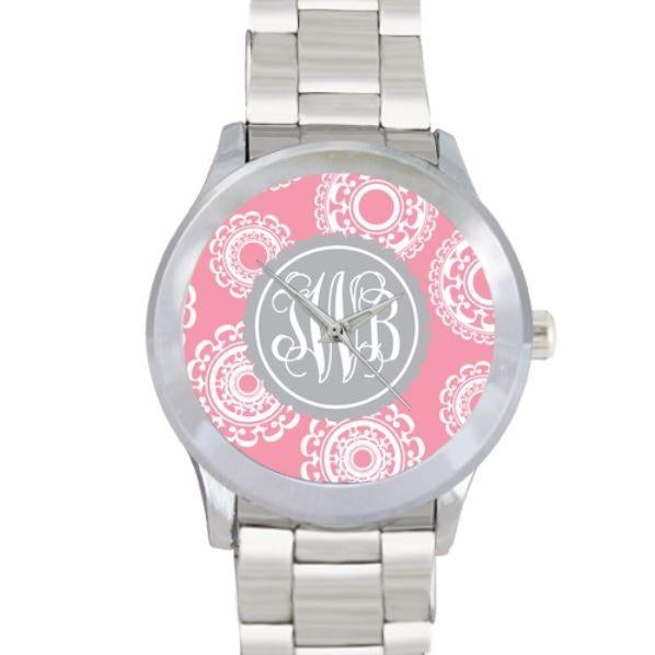 Lillies Print Watch - Stainless Steel