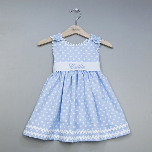 Blue Polka Dot Monogrammed Baby Toddler Dress
