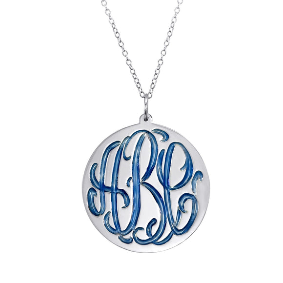 Enamel Engraved Sterling Necklace  - MANY COLORS!