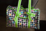Houndstooth Quilted Duffle with Lime Green Trim