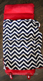 *SOLD OUT* Plush Navy & Red Chevron Nap Mat w/Blanket - inthisveryroom