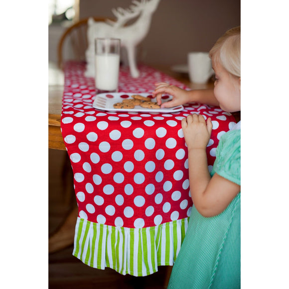 Green & Red Dots Personalized Table Runner for Christmas