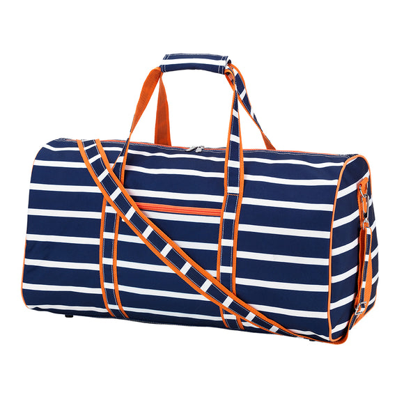 Navy Stripes with Orange Duffle Bag