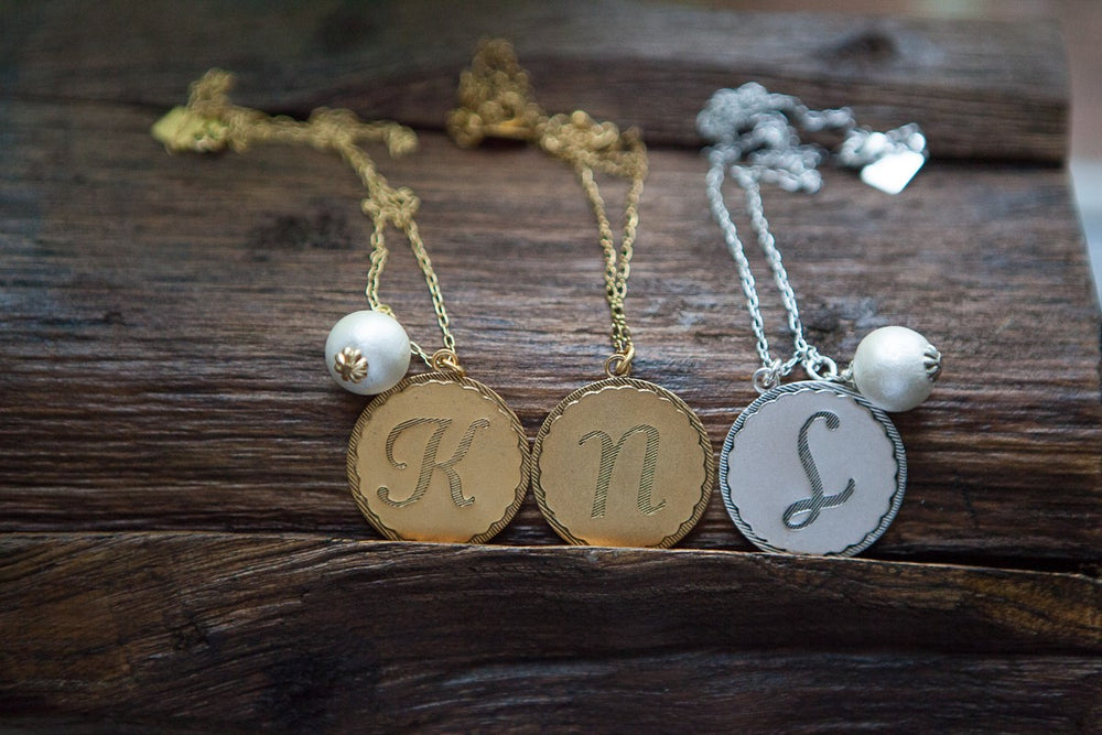 Gold Initial Necklace by John Wind