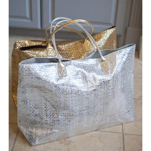 Personalized Metallic Tote Bags - Gold, Silver