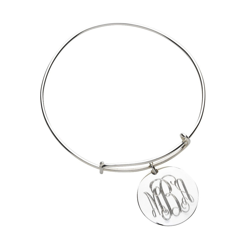 Silver Bangle Charm Bracelet - Personalized