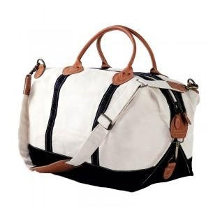 Canvas Navy & White Weekender Bag with Leather