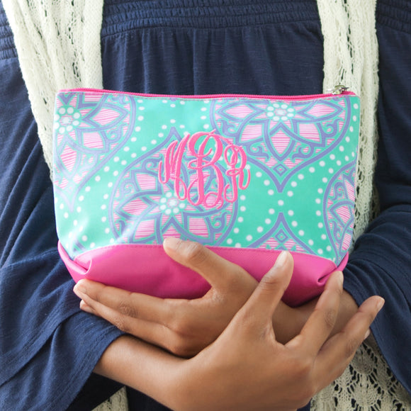 Marlee Turquoise & Pink Cosmetic Bag