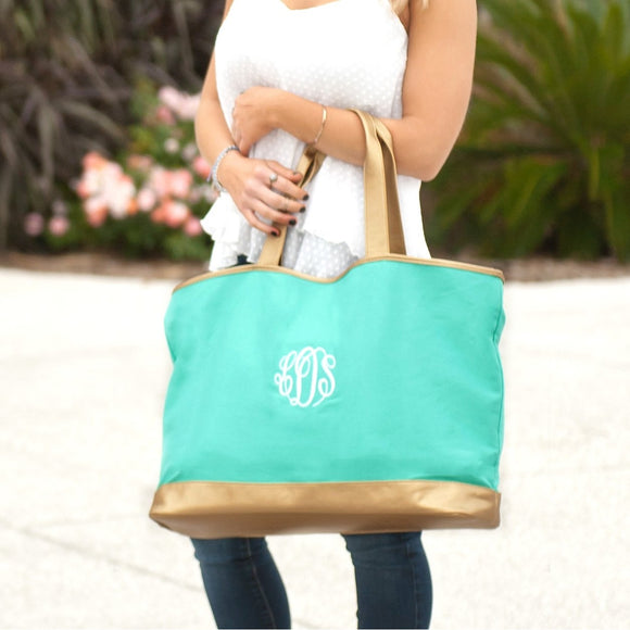 Mint Canvas Tote Bag with Gold - Monogrammed