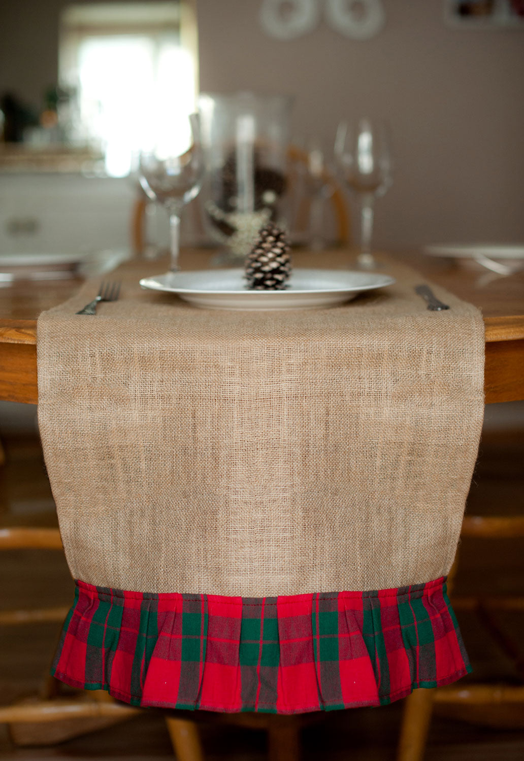 christmas plaid table runner burlap - Christmas Plaid Table Runner