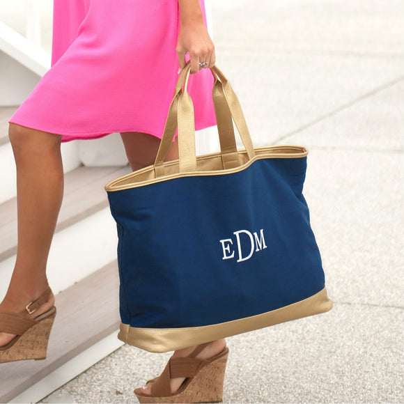 Navy & Gold Monogrammed Tote Bag