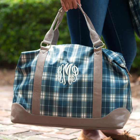 Personalized Plaid Weekender Duffel Bag
