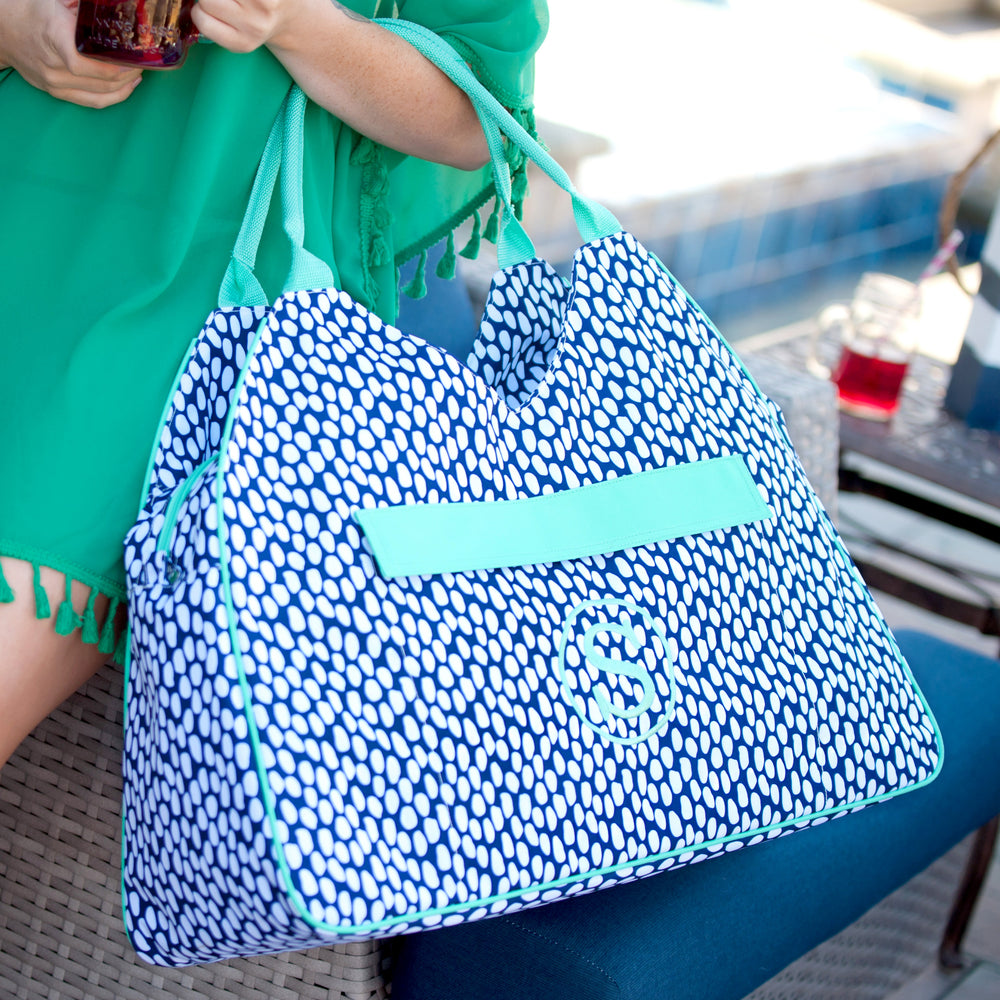 Personalized Navy & Mint Large Beach Bag for Women