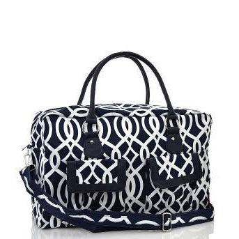 Navy White Personalized Girls Duffel Bag