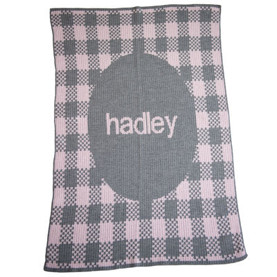 Gingham Knitted Name Blanket - Many Colors
