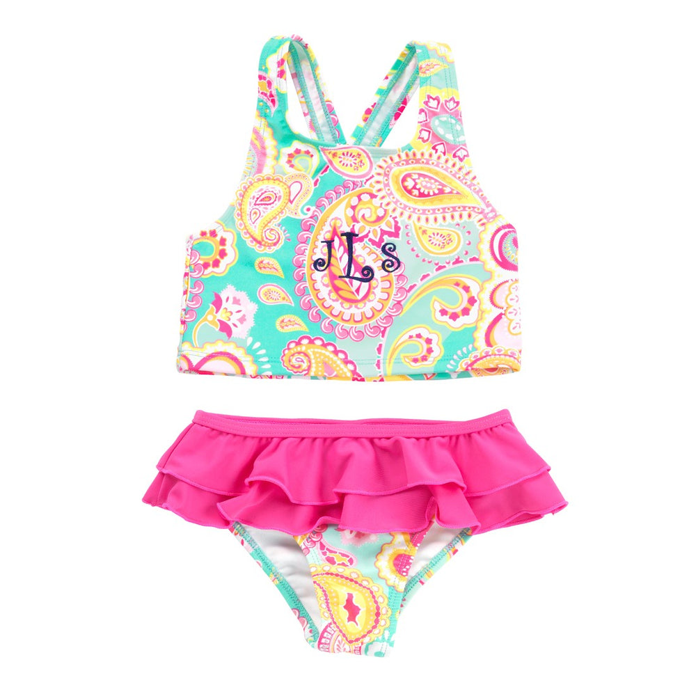 Personalized Paisley Bathing Suit for Little Girls