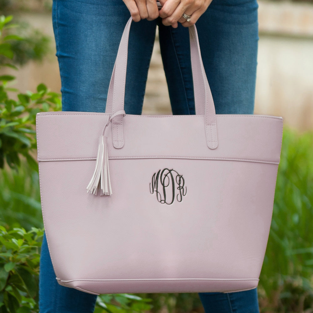 Monogrammed Blush Vegan Leather Tote Bag