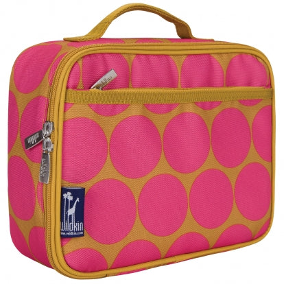 Hot Pink Mustard Dots Lunch Bag Personalized for Kids