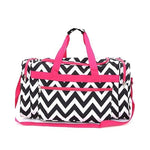 Black & White with Pink  Chevron Duffle