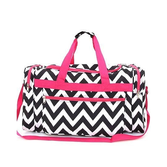 Black & White with Pink  Chevron Duffle - inthisveryroom