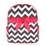 Quilted Grey/White/Pink Chevron School Backpack