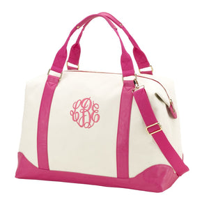 Monogrammed Pink & White Canvas Duffel - Weekender, Personalized
