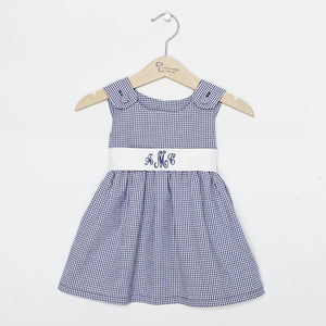 Personalized Infant Dress - Navy Gingham